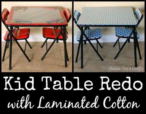 Kid's craft table makeover with laminated cotton. This is an easy project and only takes about an hour! | AuntieEmsCrafts.com