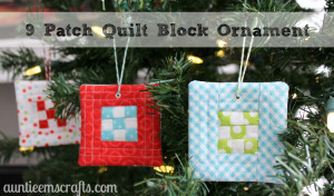 9 Patch Quilt Block Ornament